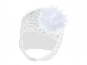 White Blossom Bonnet with White Large regular Marabou