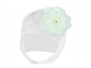 White Blossom Bonnet with White Small Rose