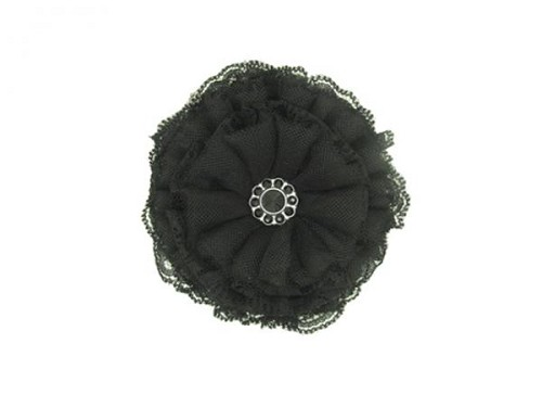 Black Bloom with Black Lace Rose