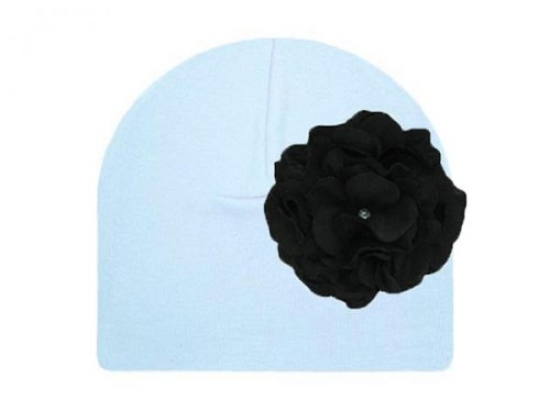 Baby Blue Cotton Hat with Black Large Geraniums
