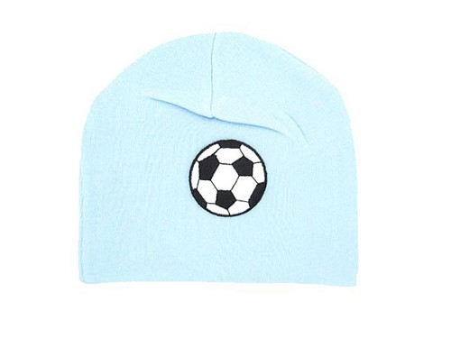 Baby Blue Applique Hat with Black Soccer Ball