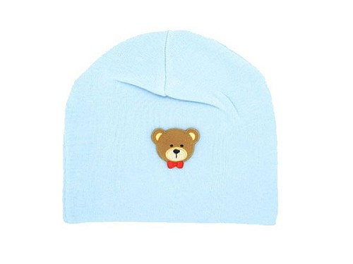 Baby Blue Applique Hat with Brown Bear