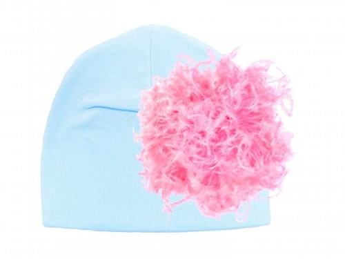 Baby Blue Cotton Hat with Candy Pink Large Curly Marabou