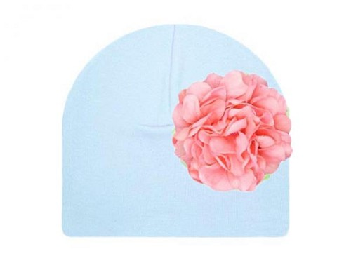 Baby Blue Cotton Hat with Candy Pink Large Geraniums