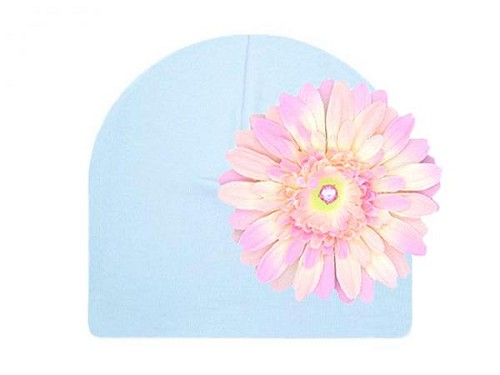 Baby Blue Cotton Hat with Pale Pink Daisy