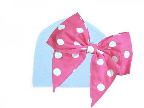 Baby Blue Cotton Hat with Pink White Bow-Rae-Mi