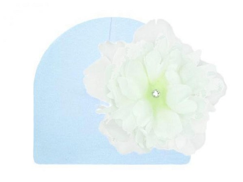 Baby Blue Cotton Hat with White Large Peony