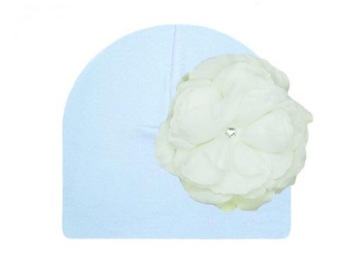 Baby Blue Cotton Hat with White Large Rose