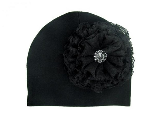 Black Cotton Hat with Black Lace Rose