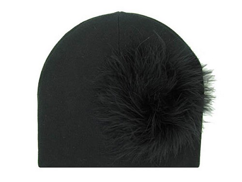 Black Cotton Hat with Black Large regular Marabou