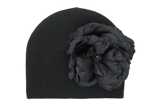 Black Cotton Hat with Black Large Rose