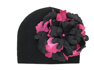 Black Cotton Hat with Black Raspberry Large Peony