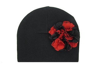 Black Cotton Hat with Black Red Large Geraniums