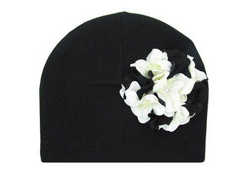 Black Cotton Hat with Black White Large Geraniums