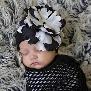 Black Cotton Hat with Black White Large Peony