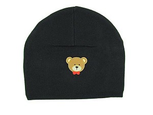Black Applique Hat with Brown Bear