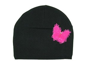 Black Applique Hat with Candy Pink Butterfly