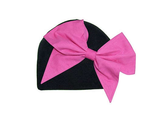 Black Cotton Hat with Candy Pink Bow-Rae-Mi