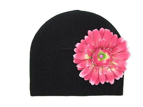 Black Cotton Hat with Candy Pink Daisy