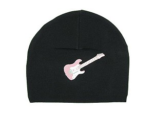Black Applique Hat with Candy Pink Guitar