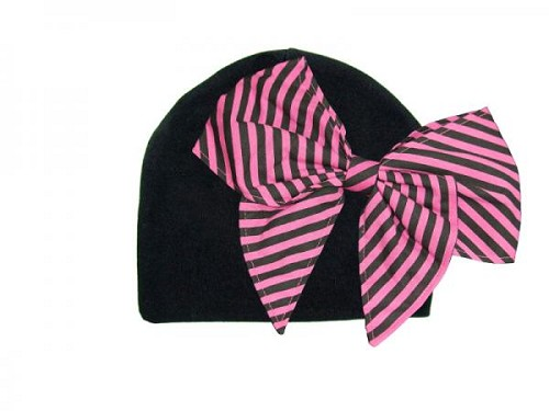 Black Cotton Hat with Candy Pink Stripe Bow-Rae-Mi