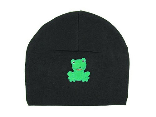 Black Applique Hat with Green Frog