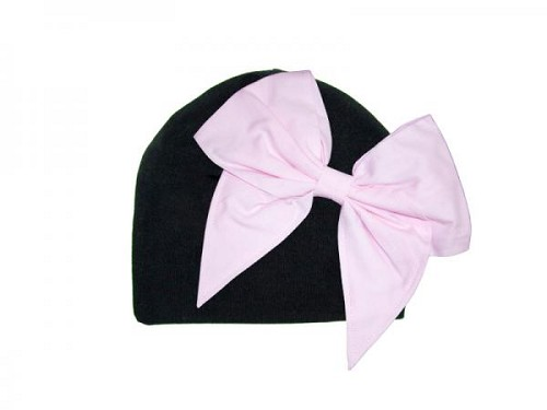 Black Cotton Hat with Pale Pink Bow-Rae-Mi
