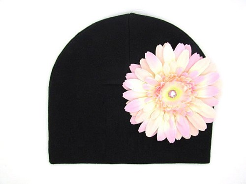 Black Cotton Hat with Pale Pink Daisy