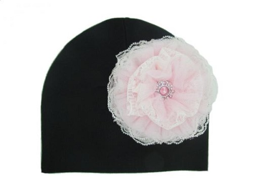 Black Cotton Hat with Pale Pink Lace Rose