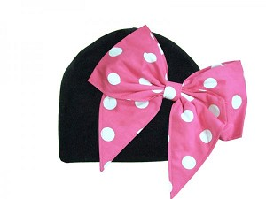 Black Cotton Hat with Pink White Bow-Rae-Mi
