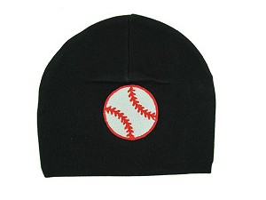Black Applique Hat with Red Baseball