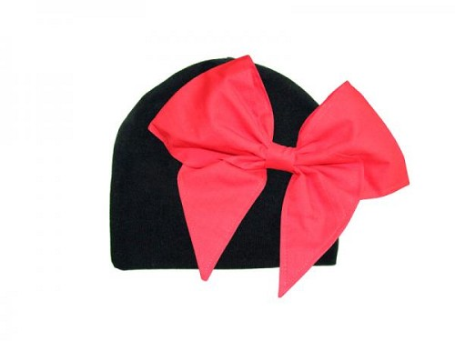 Black Cotton Hat with Red Bow-Rae-Mi