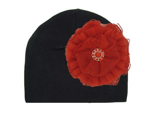 Black Cotton Hat with Red Lace Rose