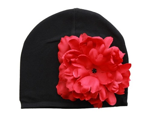Black Cotton Hat with Red Large Peony