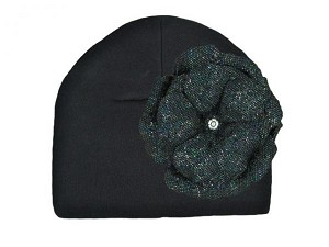 Black Cotton Hat with Sequins Black Rose