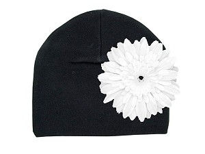 Black Cotton Hat with White Daisy