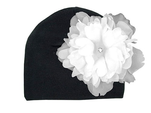 Black Cotton Hat with White Large Peony