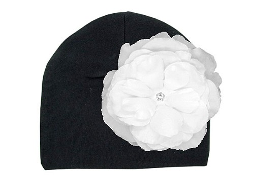 Black Cotton Hat with White Large Rose