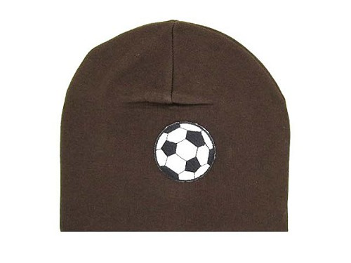 Brown Applique Hat with Black Soccer Ball