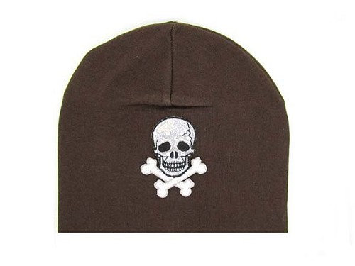 Brown Applique Hat with Black Skull