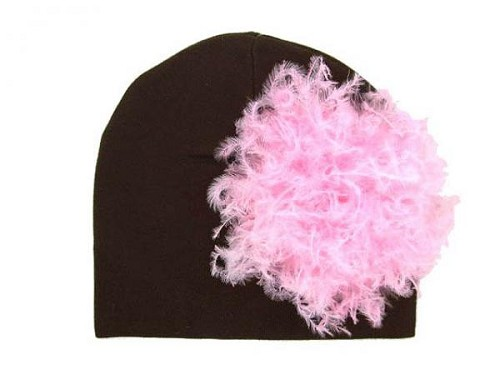 Brown Cotton Hat with Candy Pink Large Curly Marabou
