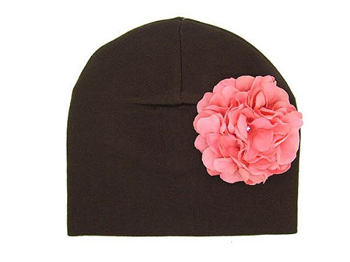 Brown Cotton Hat with Candy Pink Large Geraniums
