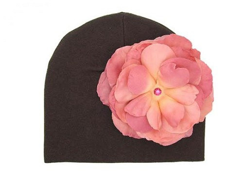 Brown Cotton Hat with Candy Pink Large Rose