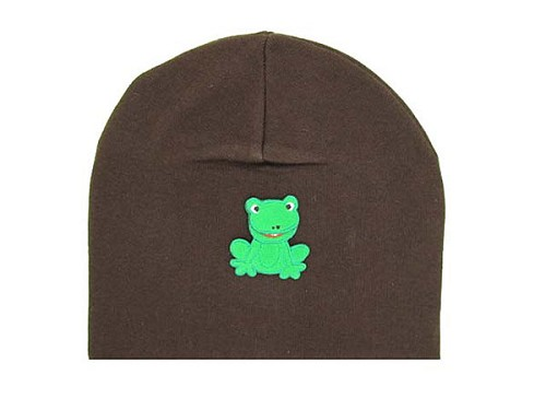 Brown Applique Hat with Green Frog