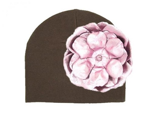 Brown Cotton Hat with Metallic Pale Pink Rose