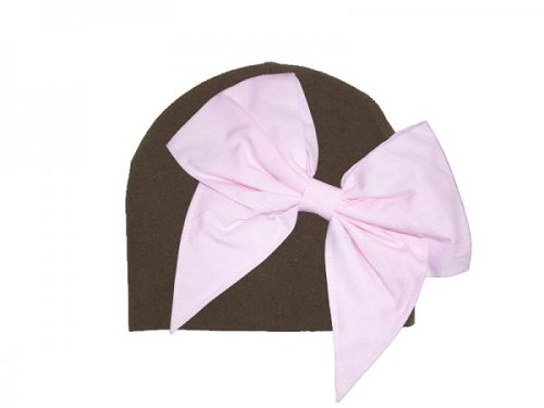 Brown Cotton Hat with Pale Pink Bow-Rae-Mi