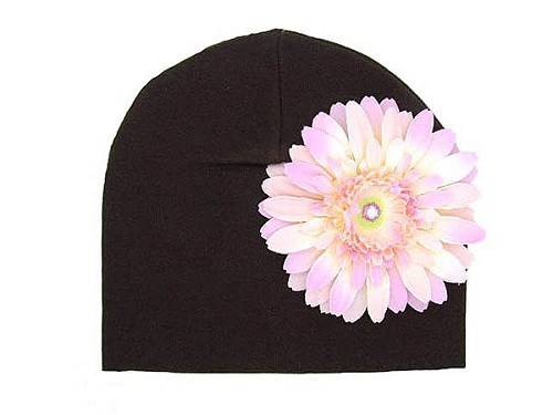 Brown Cotton Hat with Pale Pink Daisy