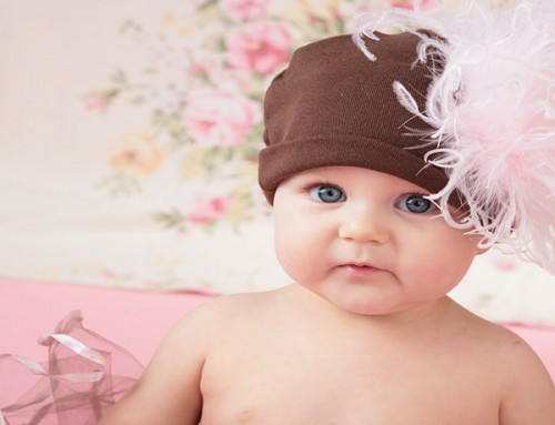 Brown Cotton Hat with Pale Pink Large Curly Marabou