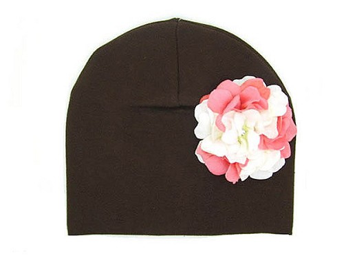 Brown Cotton Hat with Pink White Large Geraniums