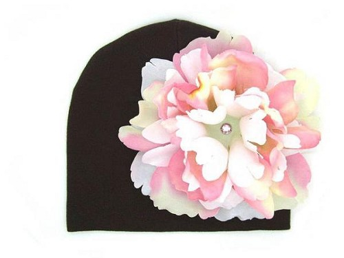 Brown Cotton Hat with Pink White Large Peony